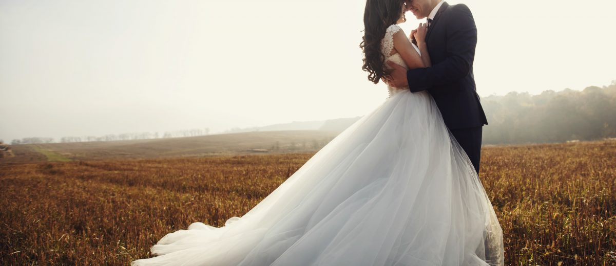 photo of bride and groom embracing in a field