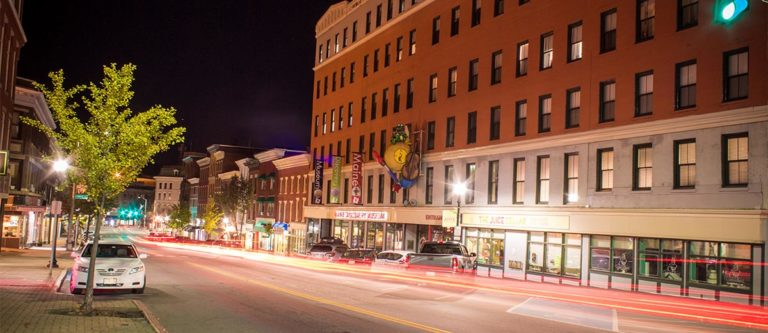 photo of downtown bangor buildings at night