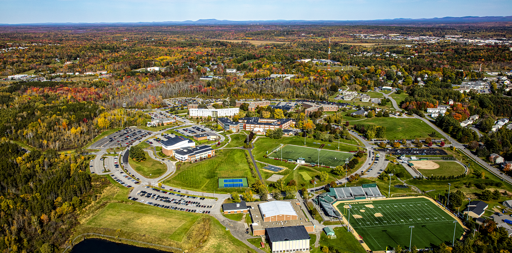 aerial photo of husson university
