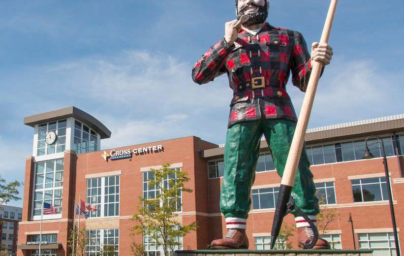 photo of Paul Bunyan statue outside cross insurance center