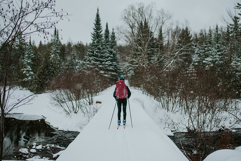 photo of person cross country skiing