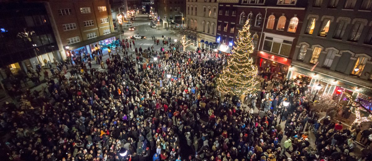 photo of downtown bangor at christmas time filled with people