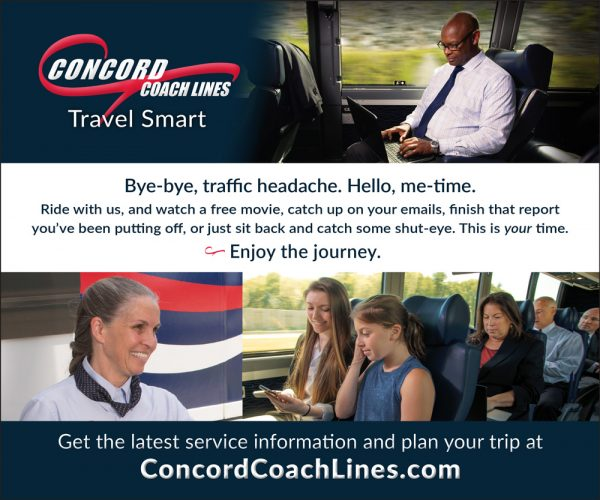 concord coach lines travel smart bye-bye traffic headache. hello me-time digital ad