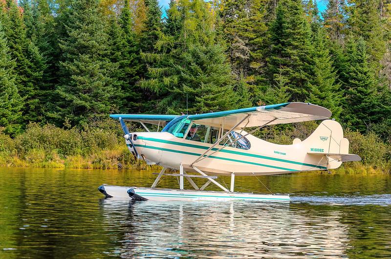 photo of a sea plane on a Maine lake