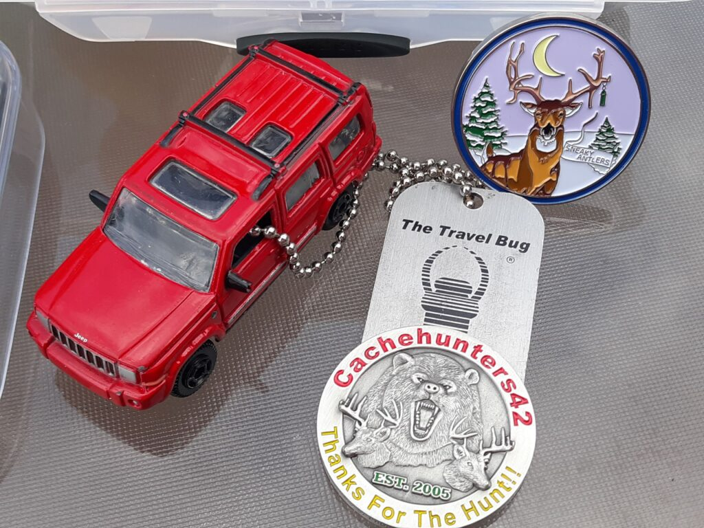 photo of geocaching trackables